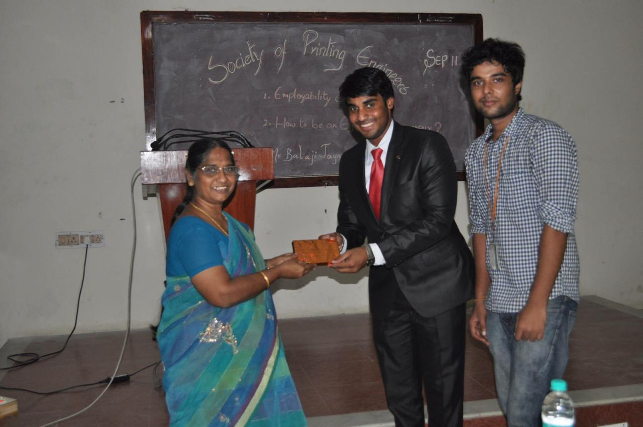 Guest Speaker – Employablity Skills for BE In Printing Engineering students at Anna University, Chennai